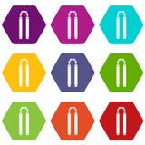 Nunchaku icon set color hexahedron Royalty Free Stock Photo