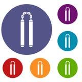 Nunchaku icons set Royalty Free Stock Images