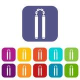 Nunchaku icons set flat Stock Photo