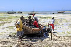 Life around the fish market, Nungwi village, Zanzibar, Tanzania. Nungwi is a village at the northern end of the Tanzanian island of Unguja, familiarly called Royalty Free Stock Photos