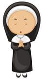 Nunna i svart dräkt vektor illustrationer