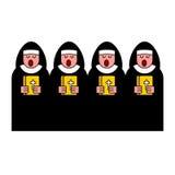 Nunnakör Katolsk religiös kvinna Kloster- sjunga vektor illustrationer