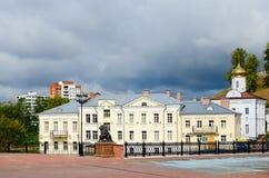 Nunnekloster för helig ande och Pushkinsky bro, Vitebsk royaltyfri foto