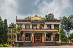 Nunnery reception hall at Namdroling Buddhist Monastery, Coorg I. Coorg, India - October 29, 2013: Reception hall and house of nunnery at Namdroling Buddhist royalty free stock photo