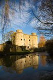 Nunney Castle, Somerset, England, UK. Castle ruins in Nunney, Somerset, UK in the warm morning light with reflection in the river stock image