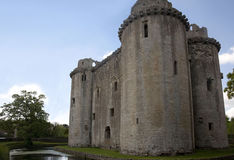 Nunney castle, Somerset. Nunney castle near Frome, Somerset UK. Built in the late 14th century by Sir John Delamare, the castle is moated, The castle was damaged Royalty Free Stock Images