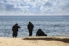 Nunnor på kusten Arkivfoto