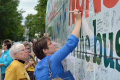 Nuns on the Bus Autograph Royalty Free Stock Photo