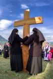 Nuns with cross at calvary stock photography