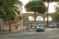 Nuns crossing the road in the early morning. Rome, Italy Royalty Free Stock Photo
