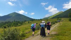 The nuns go Hiking in the mountains Royalty Free Stock Photo