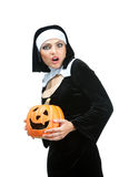 Nuns During Halloween Holding a Lantern on Jack O'Neill Stock Photography