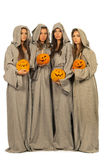 Nuns with halloween pumpkins Royalty Free Stock Photo