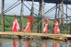Nuns at the Mon Bridge. Stock Photos