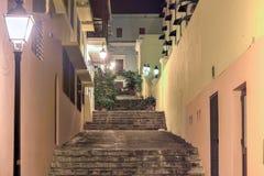 Nuns Stairway - Old San Juan, Puerto Rico. Nuns Stairway (Escalinata de las Monjas) in Old San Juan, Puerto Rico at night stock image