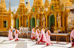 Nuns in a temple Royalty Free Stock Photography