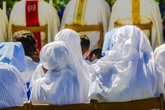 Nuns wearing white veil Stock Photos