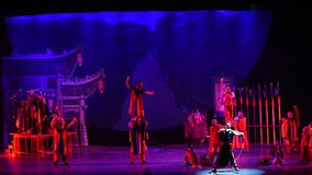 Nuo dance-Acrobatic showBaixi Dream Night stock footage