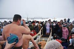 Nuotando nel ghiaccio-foro su epifania Fotografia Stock Libera da Diritti
