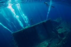 Nuotata dell'uomo di Freediver in mare vicino al naufragio in Bali fotografia stock