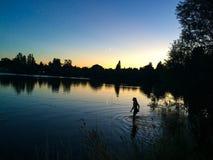Nuotata di notte Fotografie Stock