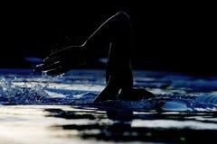 Nuotatore 01 della siluetta Immagine Stock Libera da Diritti