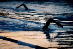 Nuotatore 05 della siluetta fotografia stock