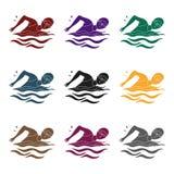 Nuotatore in cappuccio ed occhiali di protezione che nuotano nello stagno l'attivo mette in mostra la singola icona nelle azione  Immagini Stock
