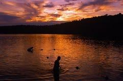 Nuotatore di Walden Pond fotografia stock