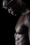 Nuotatore professionista che prende rottura da addestramento Fotografia Stock