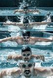 Nuotatore professionista maschio caucasico in stagno fotografia stock