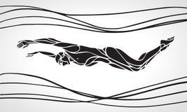 Nuotatore Silhouette della farfalla Nuoto di sport Fotografia Stock Libera da Diritti