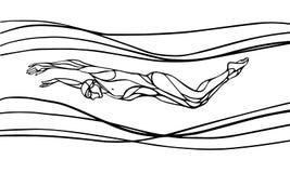 Nuotatore Silhouette della farfalla Nuoto di sport Fotografia Stock