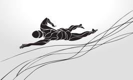 Nuotatore Silhouette di stile libero Nuoto di sport Fotografie Stock