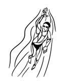 Nuotatore Silhouette di stile libero Nuoto di sport Immagine Stock