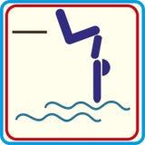 Nuotatore su un trampolino, saltante nell'icona acqua Immagine Stock