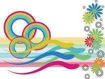 Nuotatori del cerchio del Rainbow Fotografie Stock Libere da Diritti