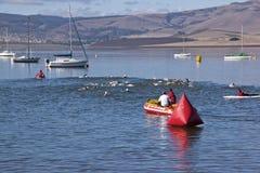 Nuotatori di triathlon guardati più in nave di soccorso gonfiabile Fotografia Stock
