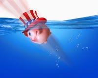 Nuoto americano del porcellino salvadanaio Fotografia Stock Libera da Diritti