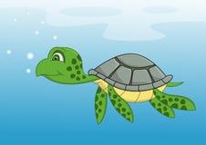 Nuoto del fumetto della tartaruga Fotografie Stock Libere da Diritti