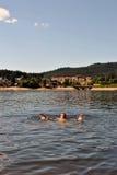 Nuoto del lago Fotografia Stock