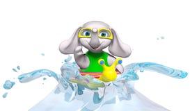Nuoto dell'elefante del bambino in acqua, rappresentazione 3d Immagini Stock Libere da Diritti