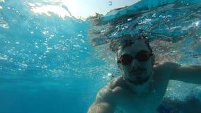 Nuoto dell'uomo subacqueo in stagno, movimento lento video d archivio