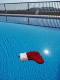Nuoto della decorazione di Natale sull'acqua di uno stagno fotografie stock