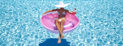 Nuoto della donna sul galleggiante in uno stagno rappresentazione 3d Immagini Stock Libere da Diritti