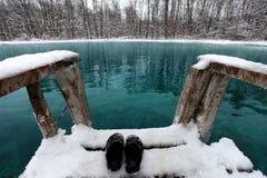 Nuoto di inverno nel lago blu Fotografia Stock