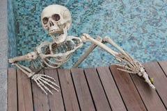 Nuoto di scheletro nell'acqua Fotografia Stock