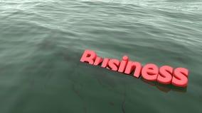Nuoto rosso di affari di parola nell'affondamento dell'oceano Immagine Stock