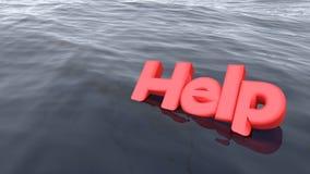 Nuoto rosso di aiuto di parola nell'affondamento dell'oceano Fotografia Stock Libera da Diritti
