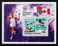 Nuoto, serie dei giochi olimpici, circa 1976 Fotografia Stock